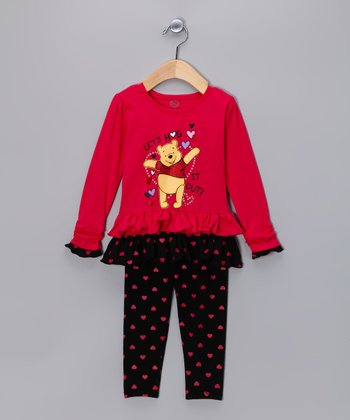 Pink Pooh 'Let's Hug It Out' Ruffle Tunic & Leggings - Infant