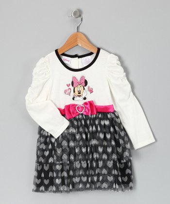 Disney White & Black Minnie Bow Ruffle Dress - Infant