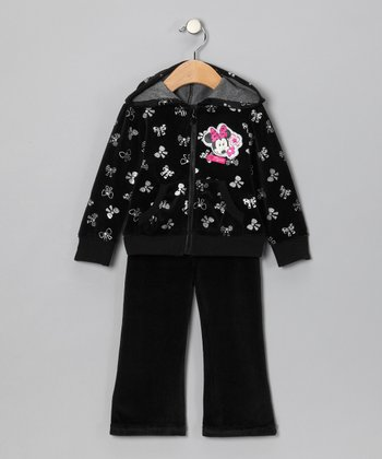 Black Minnie Velour Zip-Up Hoodie & Pants - Infant