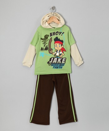 Green 'Ahoy!' Layered Tee & Pants - Toddler