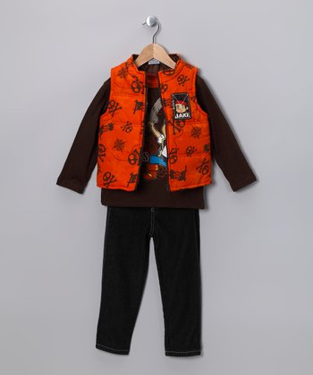 Brown & Orange 'Jake' Vest Set - Toddler