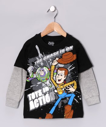 Black 'Toys in Action' Layered Tee - Toddler