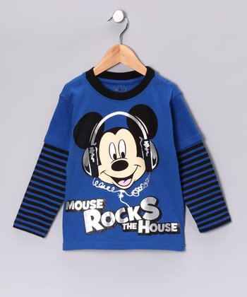 Blue 'Mouse Rocks the House' Layered Tee - Toddler