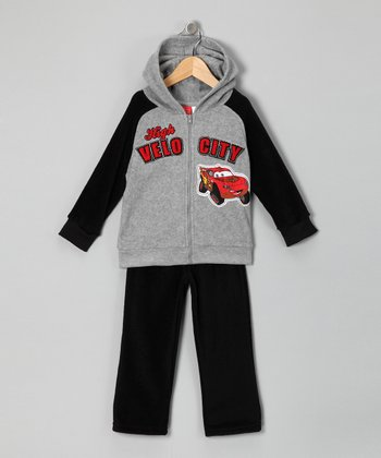Gray Cars Zip-Up Hoodie & Pants - Infant