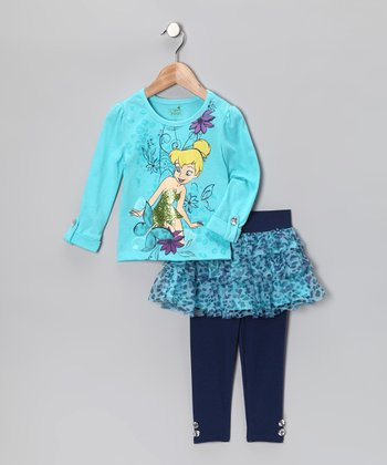 Aqua Tinker Bell Tunic & Skirted Leggings - Toddler