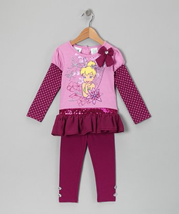 Fuchsia Tinker Bell Layered Ruffle Tunic & Leggings - Toddler