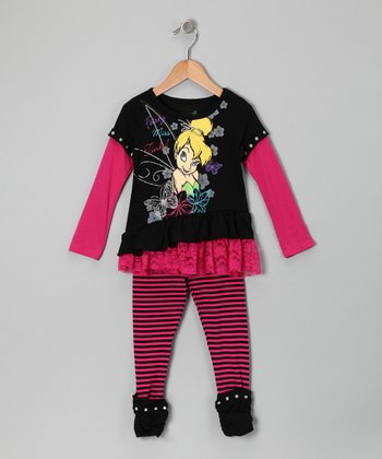 Black & Hot Pink Tinker Bell Layered Tunic & Leggings - Toddler