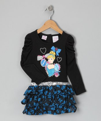 Black Cinderella Ruffle Dress - Toddler