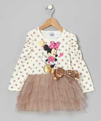 Beige Minnie Polka Dot Tulle Dress - Toddler & Girls