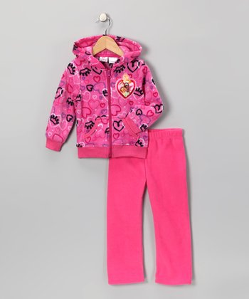 Candy Pink Princess Zip-Up Hoodie & Pants - Toddler