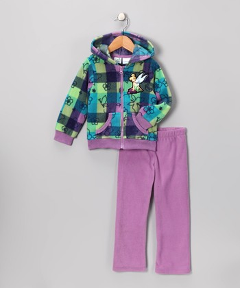 Purple Plaid Tinker Bell Zip-Up Hoodie Set - Toddler