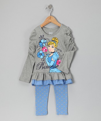 Gray & Blue Cinderella Ruffle Top & Leggings - Toddler