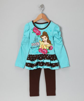 Aqua & Brown Belle Ruffle Top & Leggings - Toddler