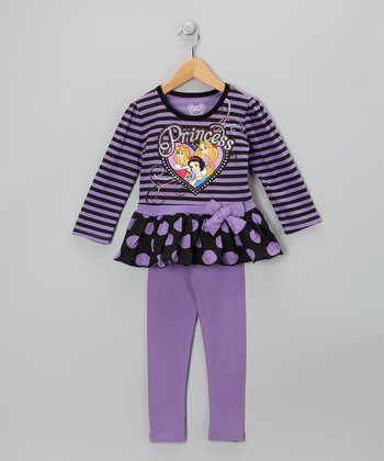 Violet Polka Dot 'Princess' Tunic & Leggings - Toddler