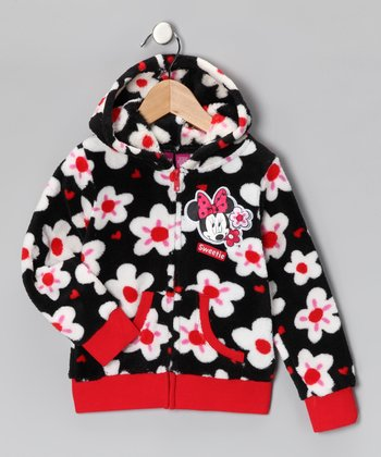 Black Floral Minnie Zip-Up Hoodie - Girls