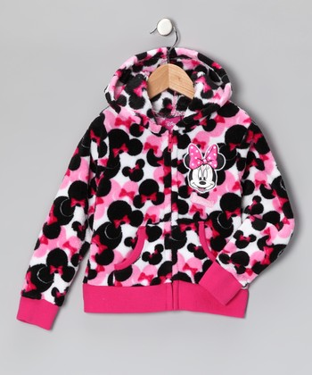 Pink Bows Minnie Zip-Up Hoodie - Girls