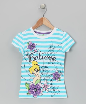 Aqua Stripe 'Believe' Tinker Bell Tee - Girls