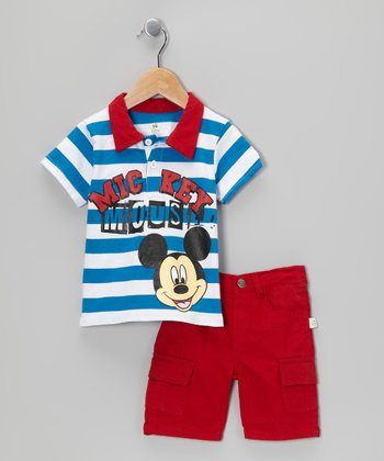 Disney Red & Blue 'Mickey' Polo & Cargo Shorts - Infant