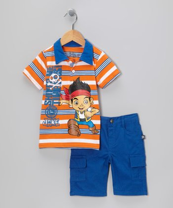 Blue 'Shiver Me Timbers!' Polo & Cargo Shorts - Toddler