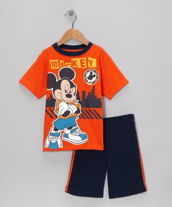 Orange & Navy 'Mickey' Tee & Shorts - Toddler