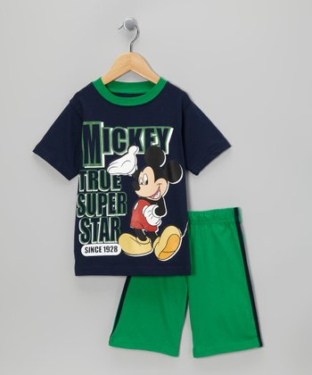 Navy & Green 'Super Star' Tee & Shorts - Toddler