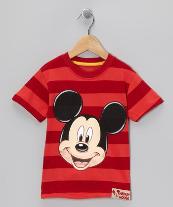 Red Stripe Mickey Face Tee - Toddler