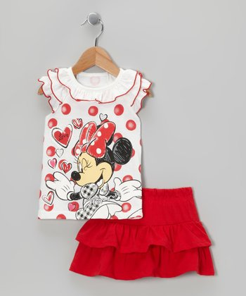 White & Red Polka Dot Minnie Top & Skirt - Toddler