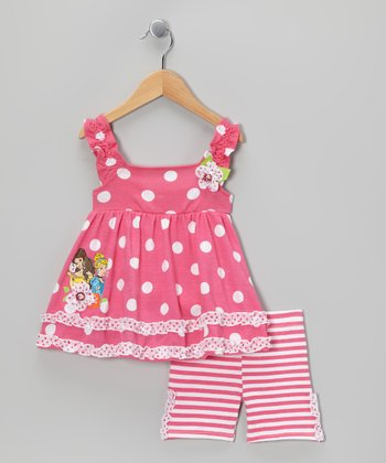 Pink Polka Dot Princess Top & Stripe Shorts - Toddler