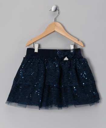 Navy Ruffle Sequin Skirt - Girls
