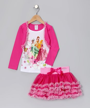 Pink & White Princess Bolero Set - Toddler