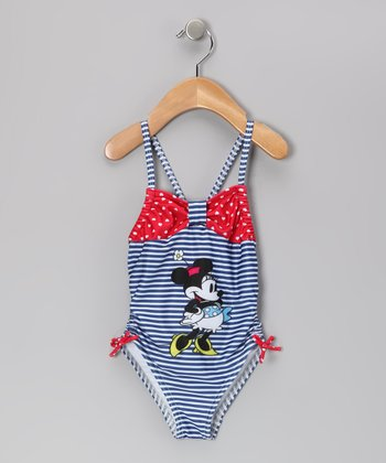 Blue & Red Stripe Minnie Mouse One-Piece - Infant