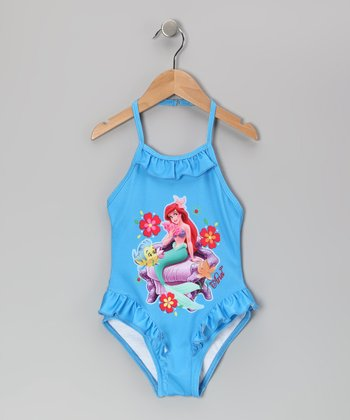 Blue Little Mermaid Ruffle One-Piece - Infant & Toddler