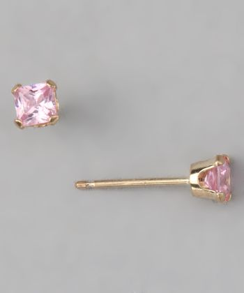 Pink & Gold Princess-Cut Stud Earrings