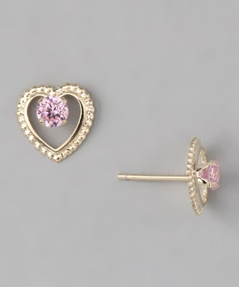 10k Gold Pink Beaded Heart Stud Earrings