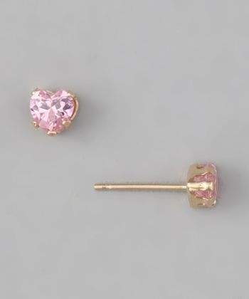 10k Gold Pink Heart Stud Earrings