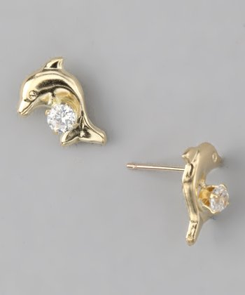 10k Gold Dolphin Stud Earrings
