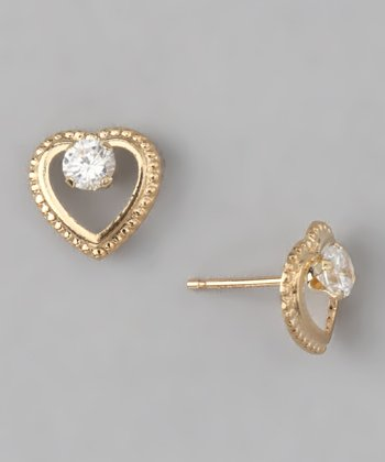 10k Gold White Beaded Heart Stud Earrings
