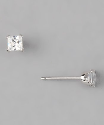 10k White Gold Princess Cut Stud Earrings