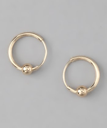 Gold Princess Ball Hoop Earrings