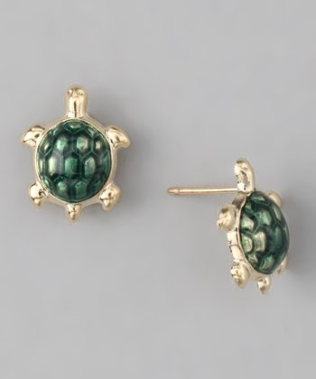 Gold & Green Turtle Stud Earrings