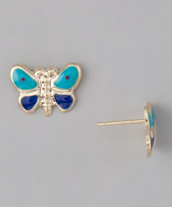 10k Gold Butterfly Stud Earrings