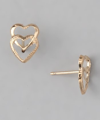 Gold Princess Double Heart Stud Earrings