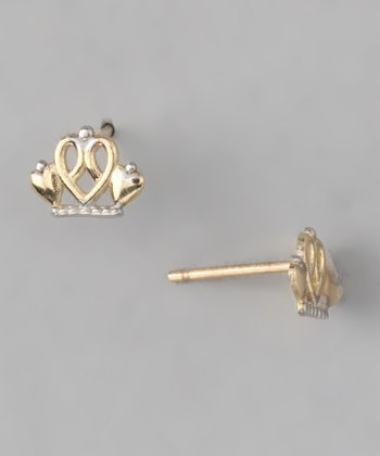 10k Gold Princess Crown Stud Earrings