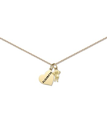 Gold Dora Personalized Charm Necklace