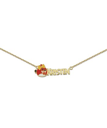 Gold Angry Birds Personalized Necklace