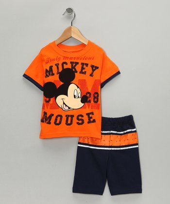Orange & Navy 'Mickey' Tee & Shorts - Infant