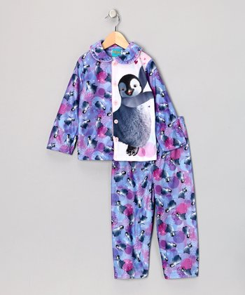 Purple Penguin Happy Feet Pajama Set - Girls