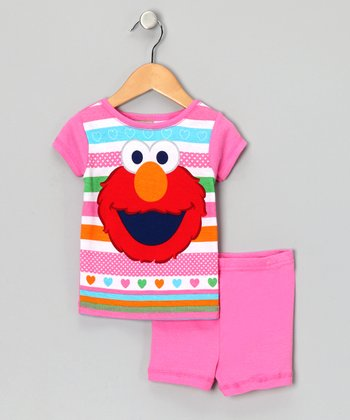 Pink & Red Elmo Pajama Set - Toddler