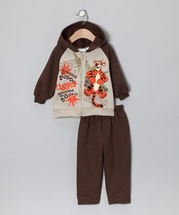 Brown Tigger Zip-Up Hoodie & Sweatpants - Infant