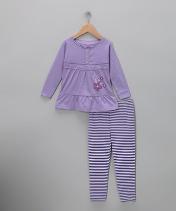 Purple Stripe Flower Tunic & Leggings - Infant